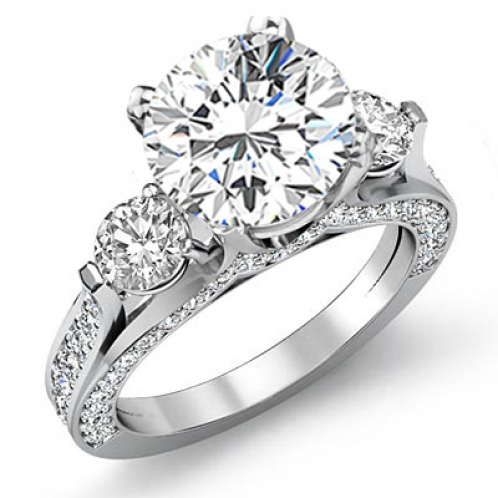 Three Stone Round Pave Side Profile Diamond Engagement Ring