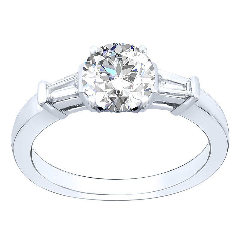 3-Stone Baguette Sidestone PaveNatural Diamonds Wedding Set