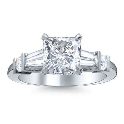 baguette accents princess cut engagement rings