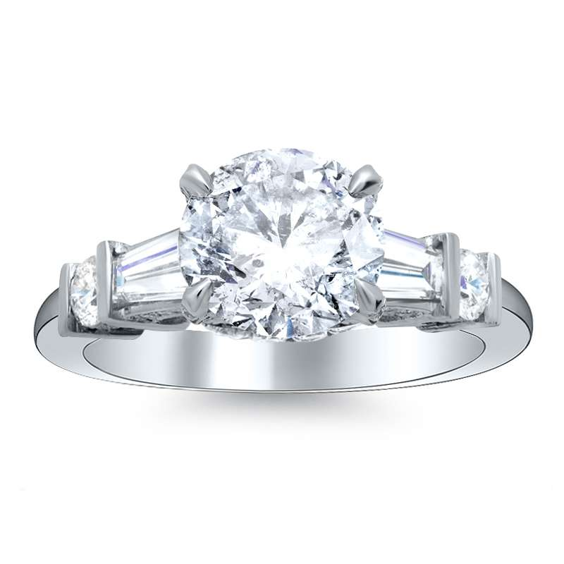 Baguette & Round Sidestones Pave Natural Diamond Engagement Ring