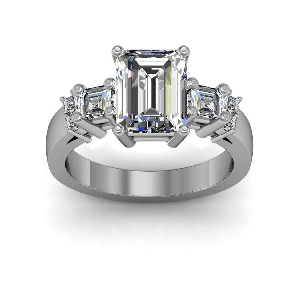 4-Prong w/ Accent Sidestone Natural Diamonds Engagement Ring