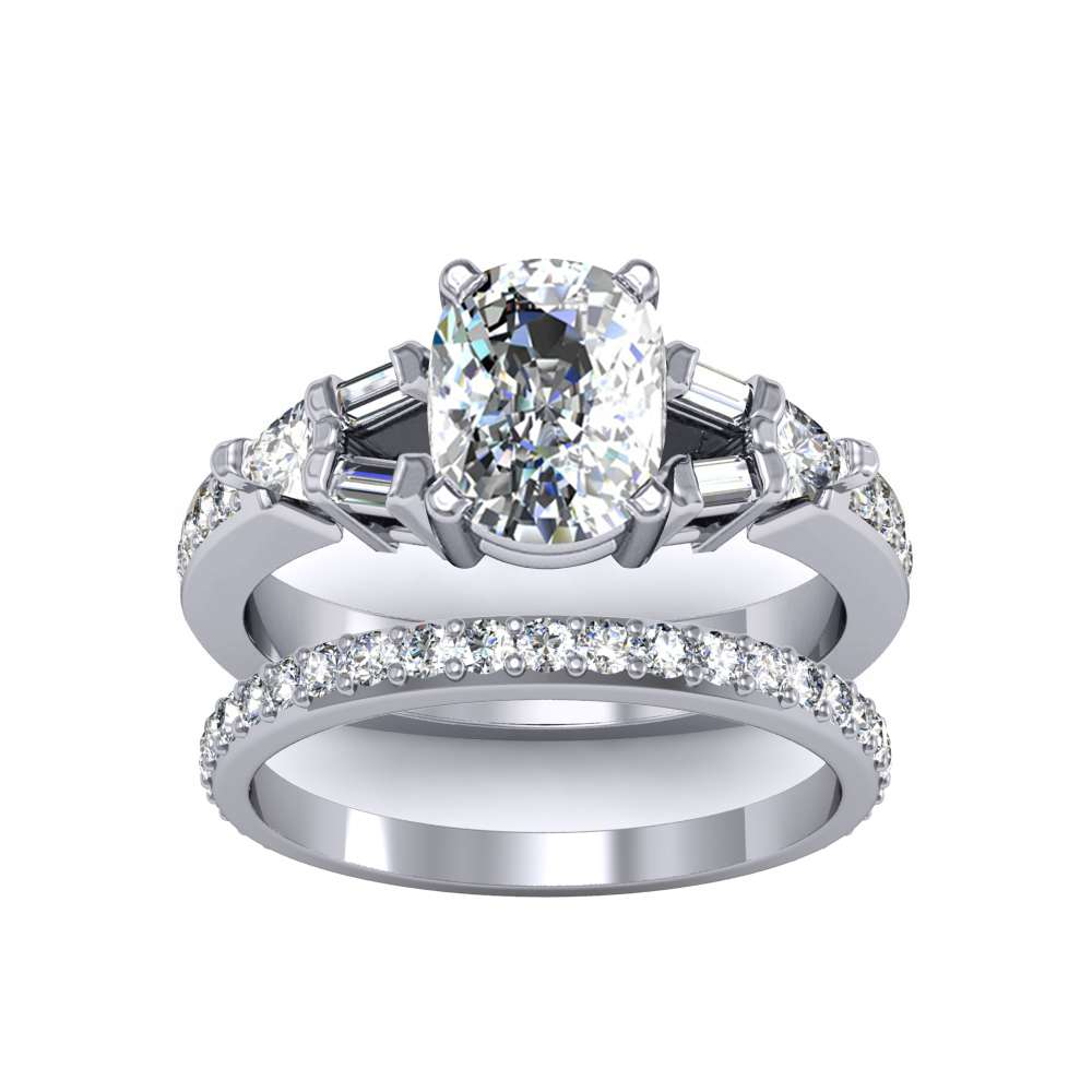 Pave w/ Baguettes and Trillion Sidestones Natural Diamonds Ring