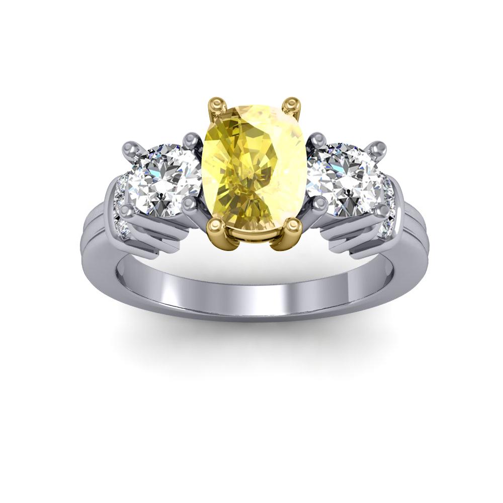UK Design w/ Trim Sidestone Natural Diamonds Engagement Ring