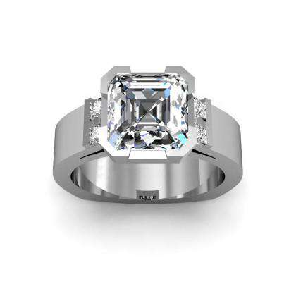 Bar Set Asscher cut Engagement Rings