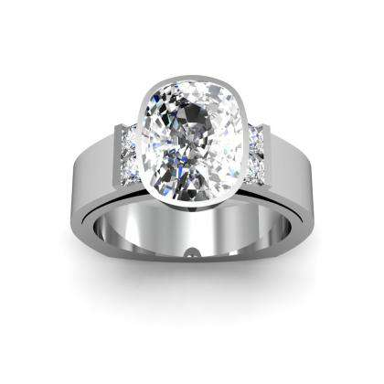 Tension Cushion cut Engagement Rings