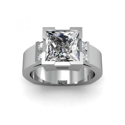 Bar Set Princess cut Engagement Rings