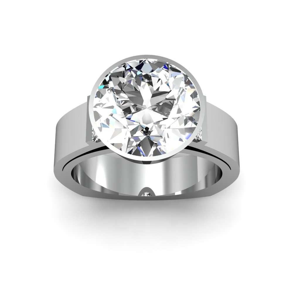 Wide Shank Bezel Set Diamond Engagement Ring