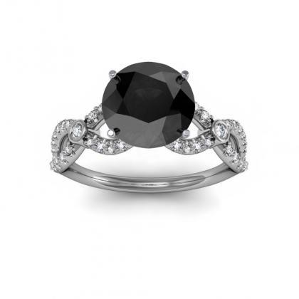 Round cut Black Diamond Engagement Rings