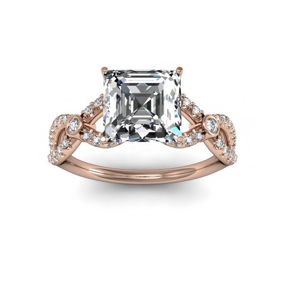 Split shank w/ Accents Sidestones Natural Diamonds Engagement Ring