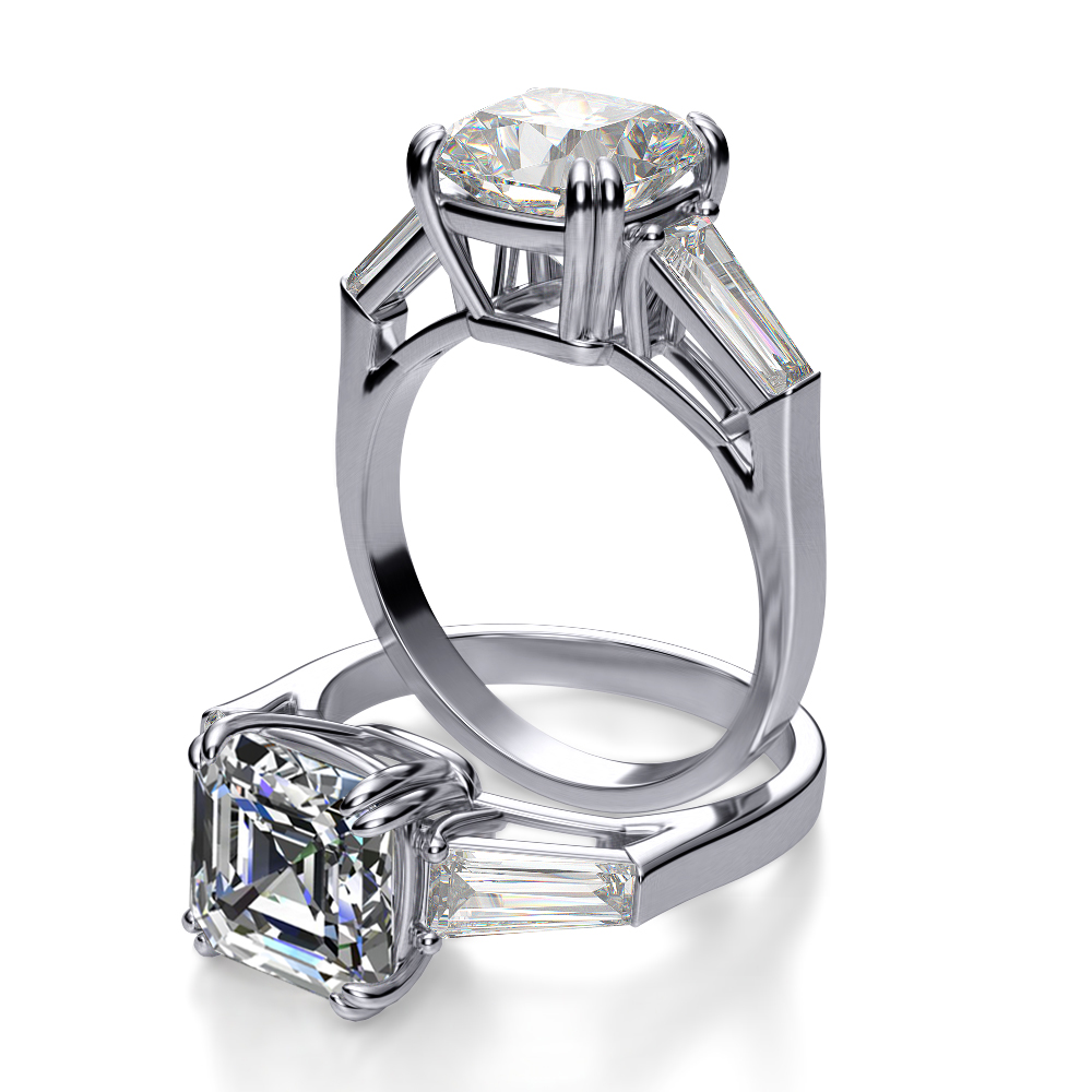 Natural Baguette Side Stones Diamond Engagement Ring