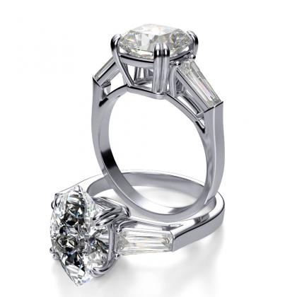 Baguette Accents Marquise cut Engagement Rings