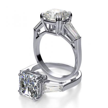 Baguette Accents Radiant cut Engagement Rings