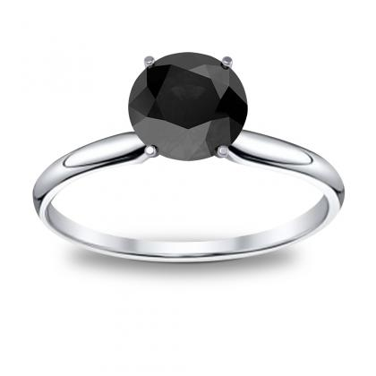 Solitaire Black Diamond Engagement Rings