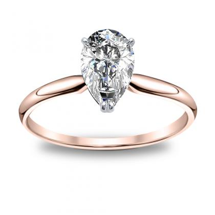 1 00ct Natural Diamond Pear Cut Solitaire Engagement Ring 14k Rose Gold Gia
