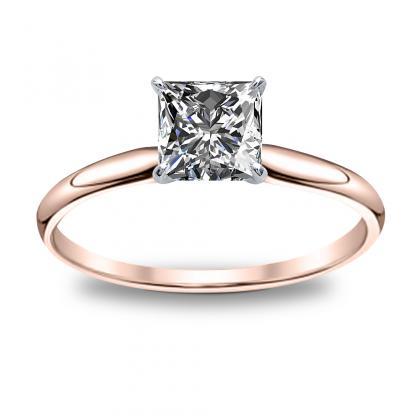 1.00ct. natural diamond princess cut solitaire diamond engagement ring 14k rose  gold gia