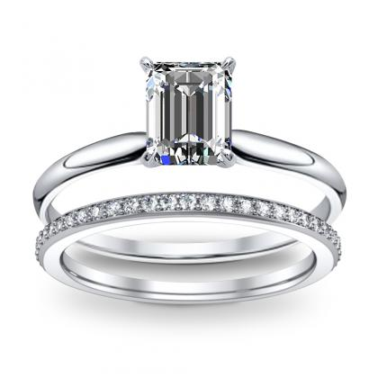 1.41ct. Natural Diamond Emerald Cut Solitaire Diamond Engagement Ring 14k  White Gold Gia