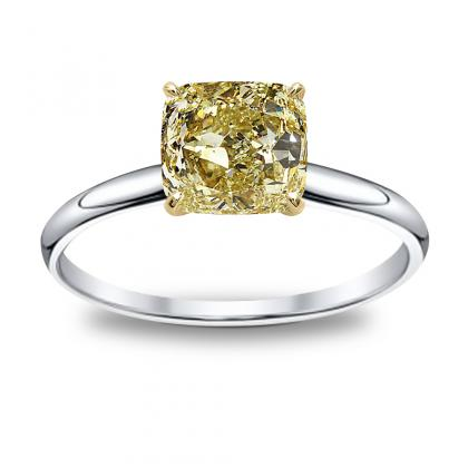 100ct yellow diamond cushion cut solitaire diamond engagement ring 14k white gold gia - Yellow Diamond Wedding Rings