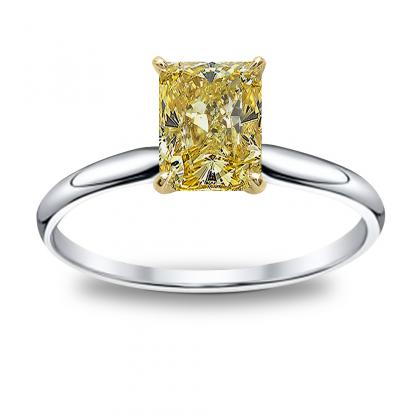 Radiant Cut Solitaire Yellow Diamond Engagement Rings