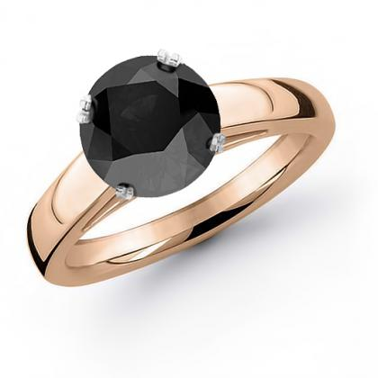 2ct. black diamond round cut solitaire engagement ring  14k rose gold gia