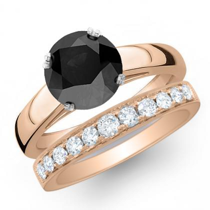 2.885ct. black diamond round cut solitaire engagement ring  14k rose gold gia
