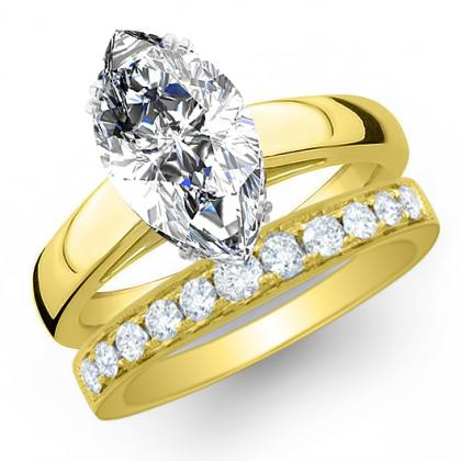 2.385ct. natural diamond marquise cut solitaire engagement ring  18k yellow gold gia