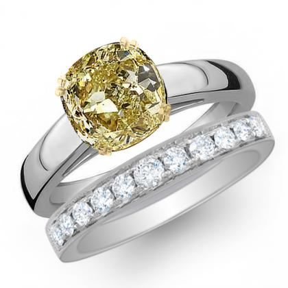 1.085ct. yellow diamond cushion cut solitaire engagement ring  18k white gold gia