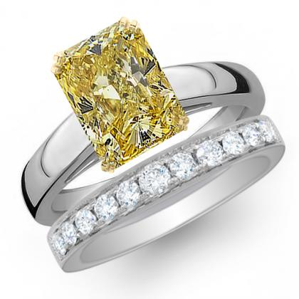 2.385ct. yellow diamond radiant cut solitaire engagement ring  18k white gold gia