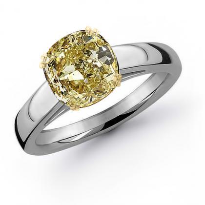 2.2ct. yellow diamond cushion cut solitaire engagement ring  platinum gia