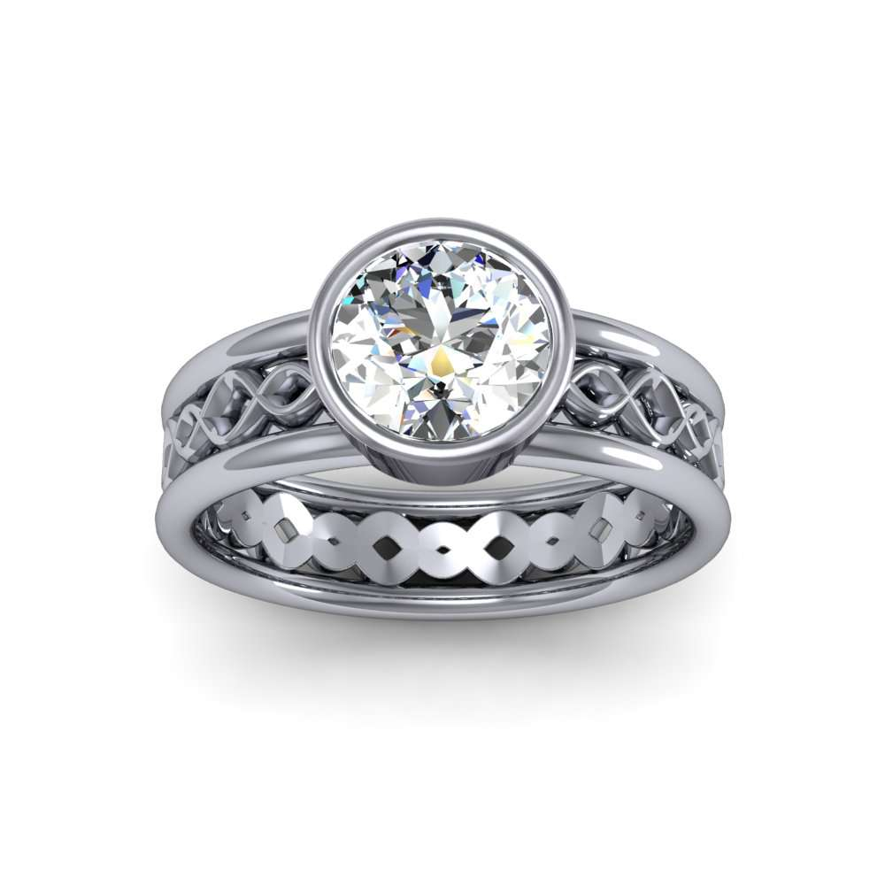 4mm Sine Wave Pattern Solitaire Natural Diamond Engagement Ring