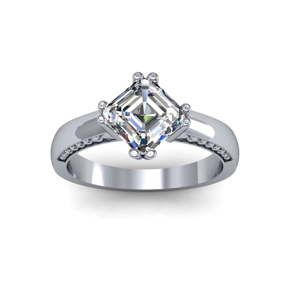 3mm Heart Prong & Shank Design Solitaire Natural Diamond Engagement Ring