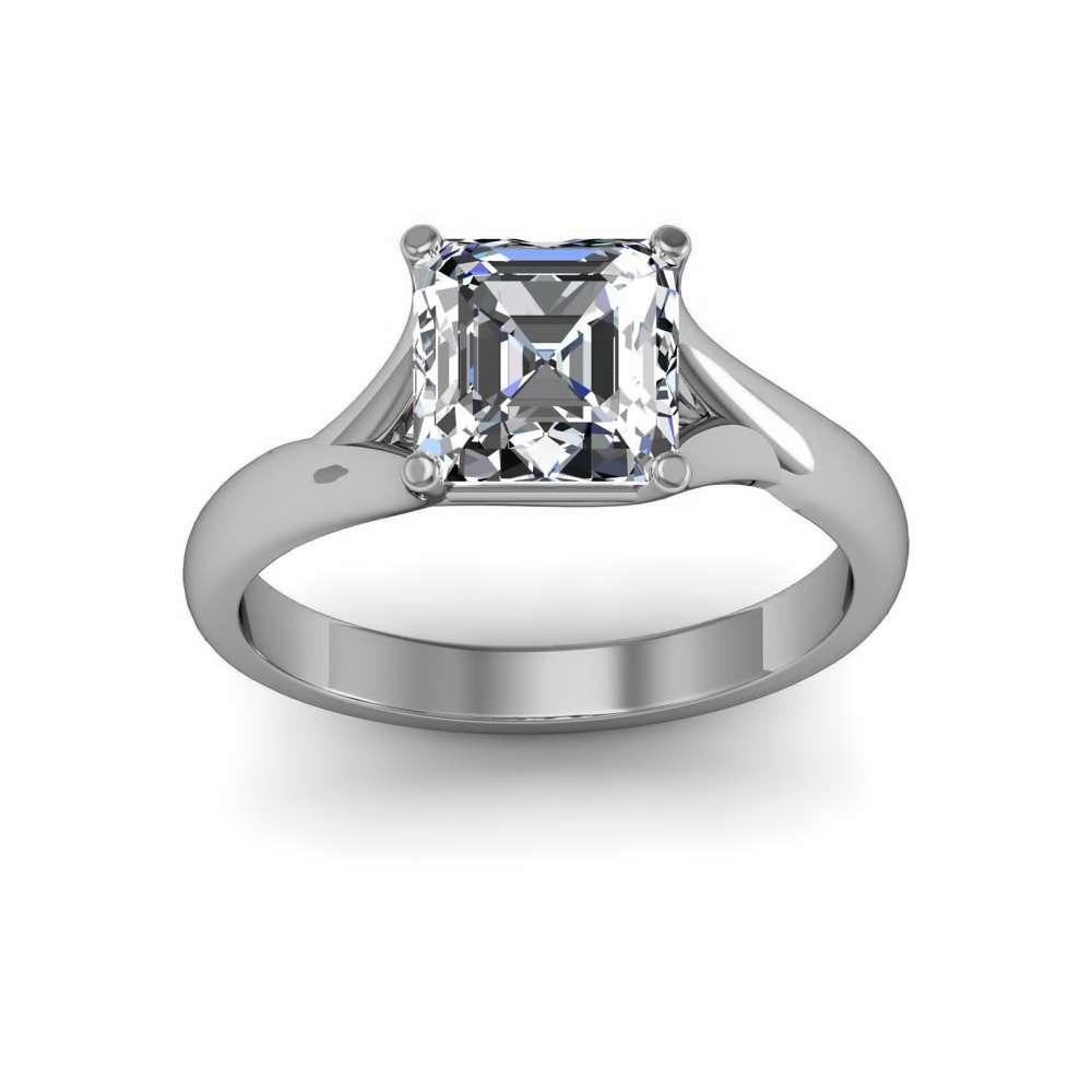 3mm Split Shank Solitaire Natural Diamond Engagement Ring