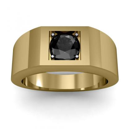 2ct. black diamond round cut 4mm thick shank solitaire natural diamonds anniversary ring 18k yellow gold gia