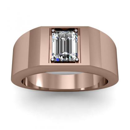 0.7ct. natural diamond emerald cut 4mm thick shank solitaire natural diamonds anniversary ring 14k rose gold gia