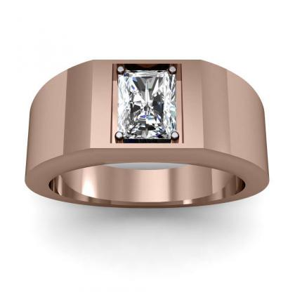 1.2ct. natural diamond radiant cut 4mm thick shank solitaire natural diamonds anniversary ring 14k rose gold gia