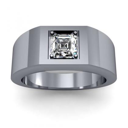 2.2ct. natural diamond asscher cut 4mm thick shank solitaire natural diamonds anniversary ring 14k white gold gia
