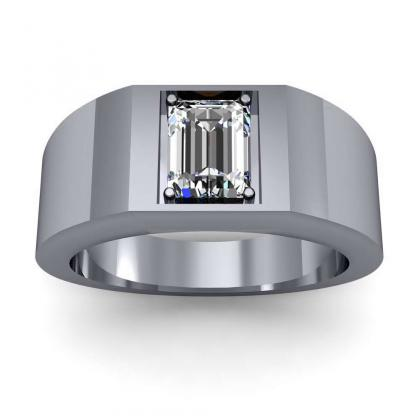 0.7ct. natural diamond emerald cut 4mm thick shank solitaire natural diamonds anniversary ring 14k white gold gia