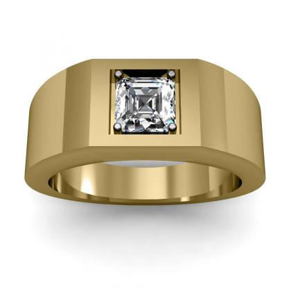 2.2ct. natural diamond asscher cut 4mm thick shank solitaire natural diamonds anniversary ring 14k yellow gold gia