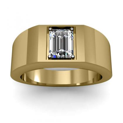 3ct. natural diamond emerald cut 4mm thick shank solitaire natural diamonds anniversary ring 14k yellow gold gia