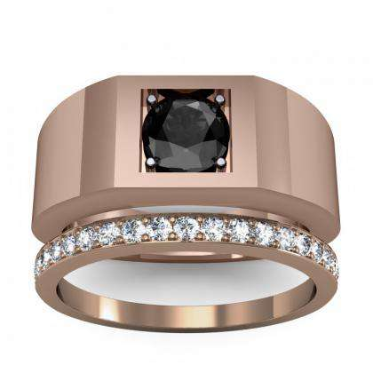 1.5ct. black diamond round cut 4mm thick shank solitaire natural diamonds anniversary ring 14k rose gold gia