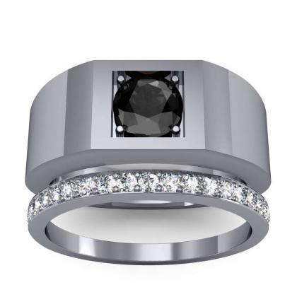2ct. black diamond round cut 4mm thick shank solitaire natural diamonds anniversary ring 14k white gold gia