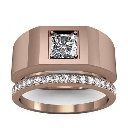 0.7ct. natural diamond princess cut 4mm thick shank solitaire natural diamonds anniversary ring 18k rose gold gia