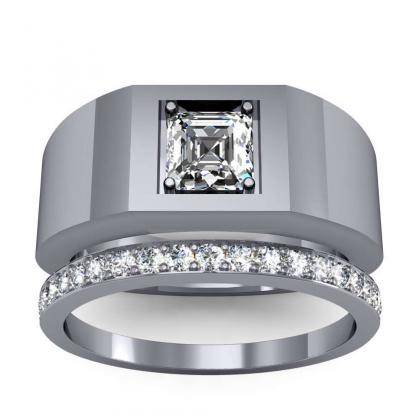 1.5ct. natural diamond asscher cut 4mm thick shank solitaire natural diamonds anniversary ring 18k white gold gia