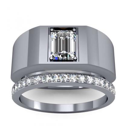 2.7ct. natural diamond emerald cut 4mm thick shank solitaire natural diamonds anniversary ring 14k white gold gia