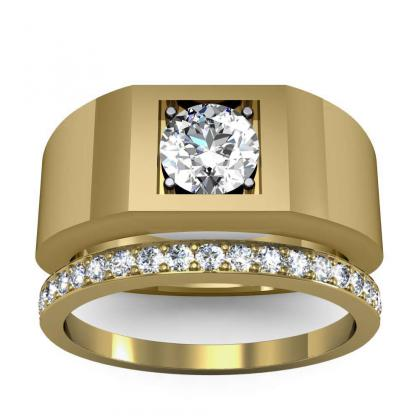 1ct. natural diamond round cut 4mm thick shank solitaire natural diamonds anniversary ring 18k yellow gold gia