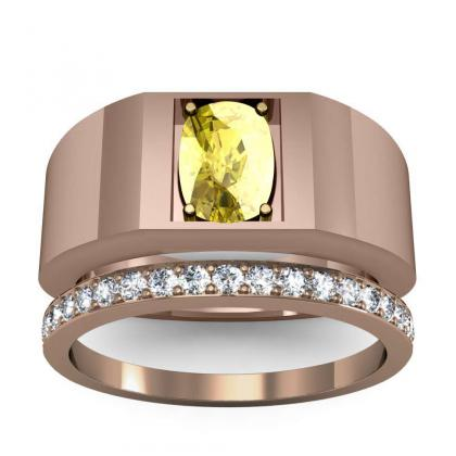 3ct. yellow diamond cushion cut 4mm thick shank solitaire natural diamonds anniversary ring 18k rose gold gia