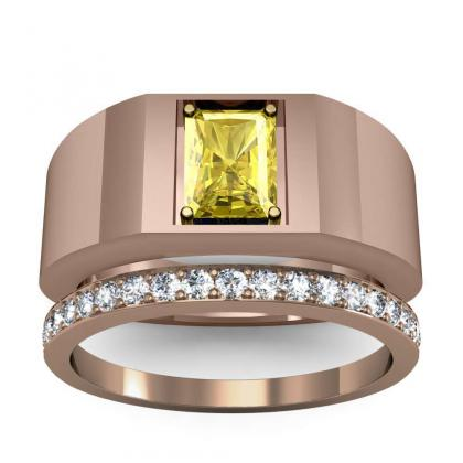 2.2ct. yellow diamond radiant cut 4mm thick shank solitaire natural diamonds anniversary ring 18k rose gold gia