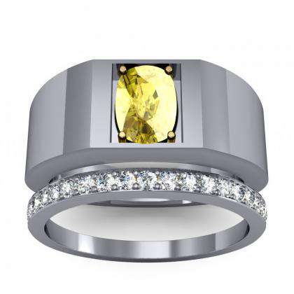 1.2ct. yellow diamond cushion cut 4mm thick shank solitaire natural diamonds anniversary ring 14k white gold gia