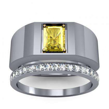 0.7ct. yellow diamond radiant cut 4mm thick shank solitaire natural diamonds anniversary ring 14k white gold gia