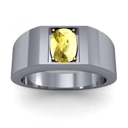 0.7ct. yellow diamond cushion cut 4mm thick shank solitaire natural diamonds anniversary ring 14k white gold gia