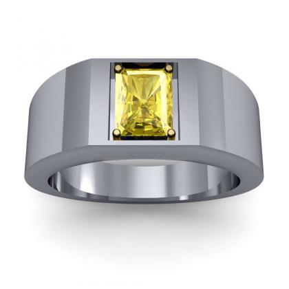 1ct. yellow diamond radiant cut 4mm thick shank solitaire natural diamonds anniversary ring 18k white gold gia
